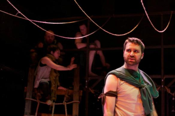 From We Happy Few's 2013 production of The Tempest. Background L-R: Josh Adams, Britt Duff, Scott Gaines.  Foreground: Andrew Keller